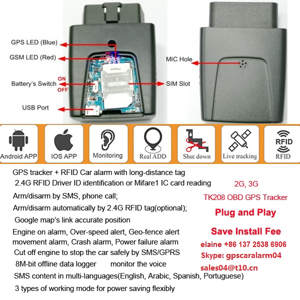 2G TK208 simple install OBD gps tracker - Tracker GPS GPS